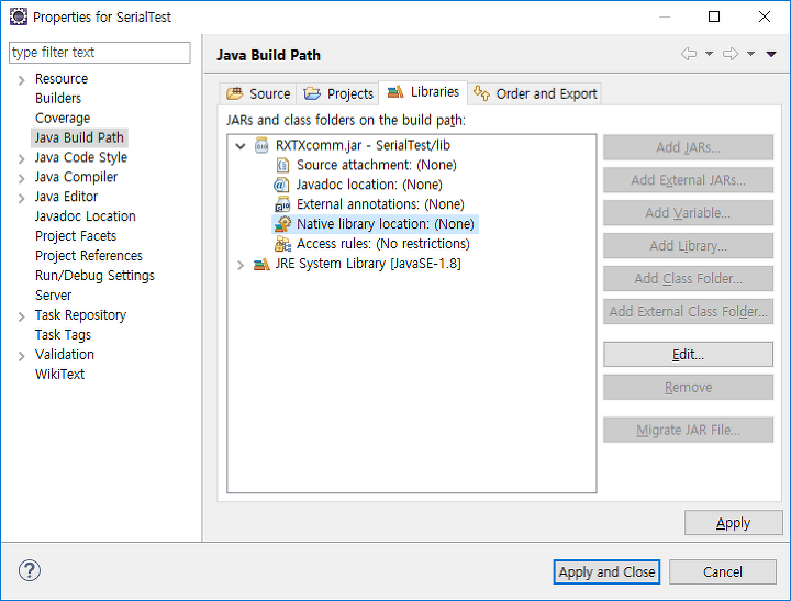 Java를 사용한 Serial(uart) 통신