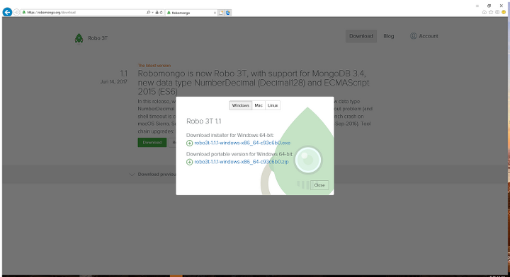 MongoDB] Robo 3T (GUI 관리툴) 다운로드 및 설치
