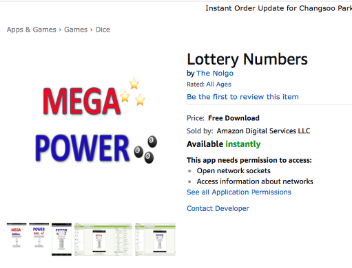 Free Mobile App - Download 'Lottery Numbers' app from Amazon