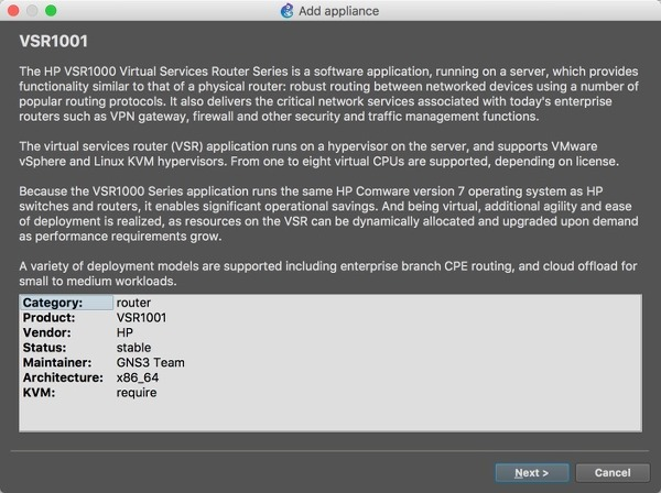 GNS3] 8  macOS GNS3 HP VSR1001 연동