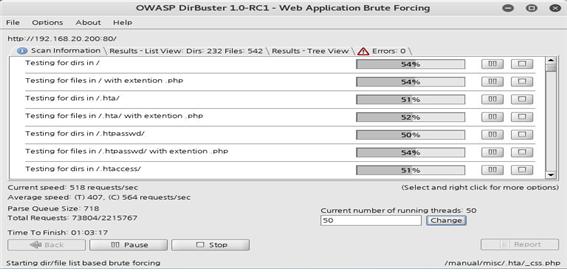 DirBuster을 이용한 웹 서버의 파일, 디렉터리 스캔