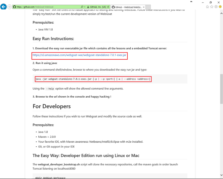 WebGoat] Configuration & Installation