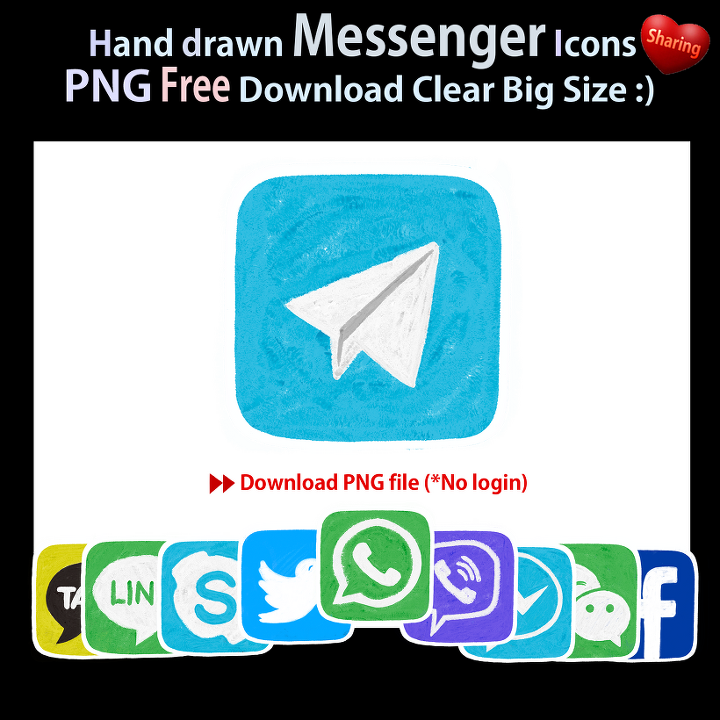 Hand Drawn Messenger Icon PNG file Free Download (Sharing)