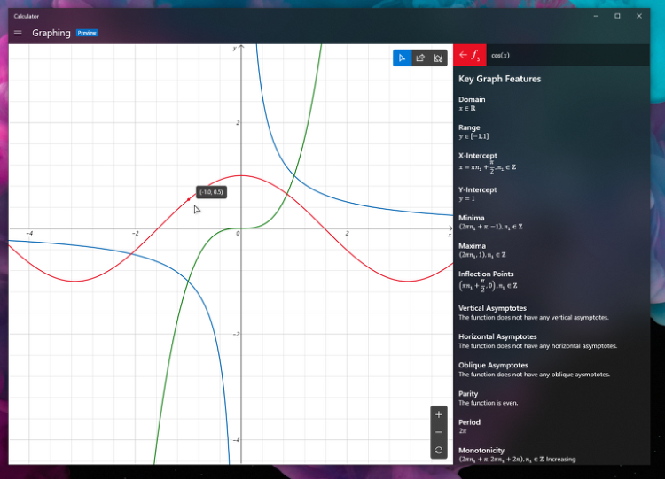 윈도우10 계산기에 추가된 그래프 모드는?