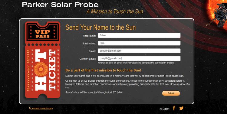 NASA 에서 진행 하는 태양에 내 이름 보내기 아이들에게 신청 해주세요.
