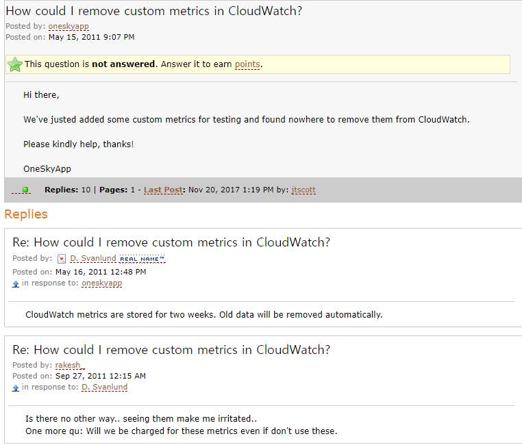 How could I remove custom metrics in CloudWatch?, you can't