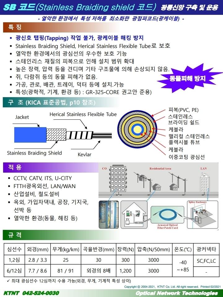 스틸튜브로 강화한 SB코드 (Stainless Braiding Shield Optical Cord)
