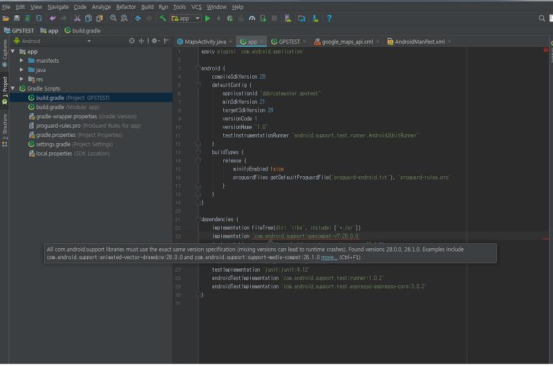 build gradle] com android support:appcompat-v7:28 0 0 빨간줄