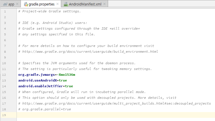 Could not set unknown property 'useAndroidX' for object of