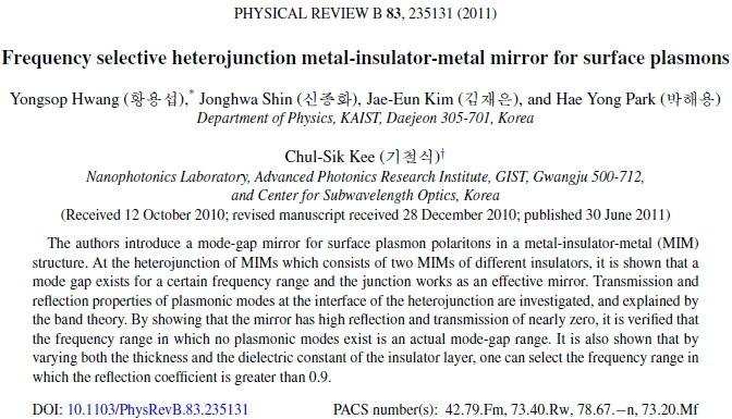 [논문] Metal-insulator-metal Mirror For Surface Plasmons