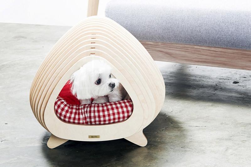 *애견가구 pote contours a wooden fishbone house for animals