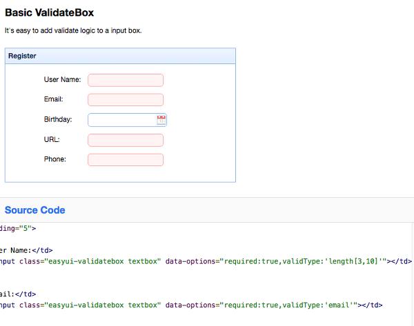 jquery easyui widet sample - last (validatebox, window