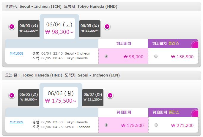 피치항공 인천-하네다 왕복 항공권 구입 그 세번째