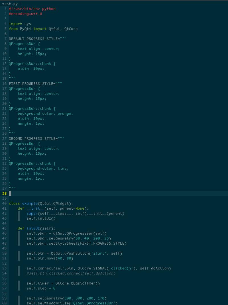 PyQt4] QProgressBar Example <color change>