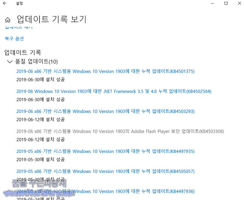 윈도우 10 버전 1903 KB4501375 누적 업데이트