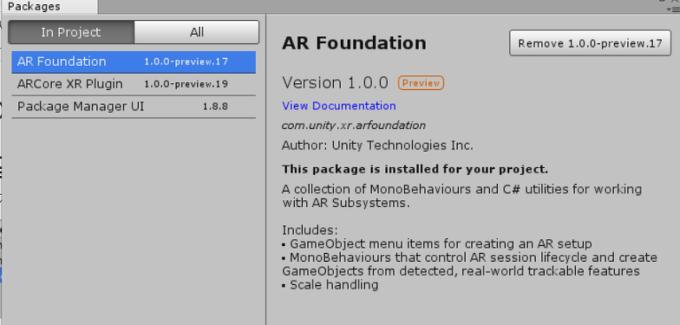 Unity] AR Foundation Package