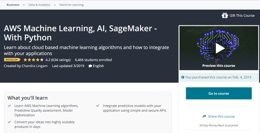 ML] AWS ML, AI, SageMaker - With Python lecture (Udemy)