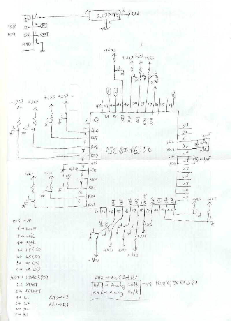 노트정리 :: USB 조이스틱 회로도 USB JOYSTICK SCHEMATIC