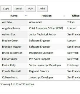 DataTables 버튼 (복사, pdf, 엑셀, 프린트 버튼) - Web Standard