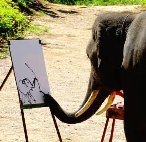 [포토친구] 그림 그리는 코끼리?