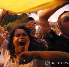 베네수엘라, 야권 지도자 과이도 국회의장을 지지하는 시민들