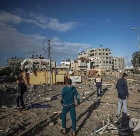 이스라엘 공습으로 초토화된 하마스 지도자 집무실 건물