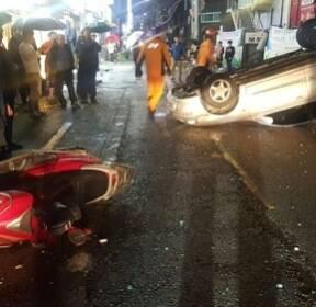 부산서 음주운전 차량이 충돌사고 4건 내고 뒤집혀