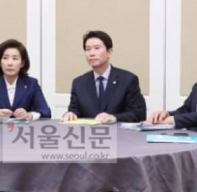[서울포토] 여야 3당 교섭단체 원내대표들 회동