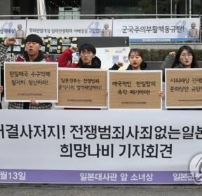 반아베반일청년학생공동행동, 소녀상 앞 농성장 철거 결사저지