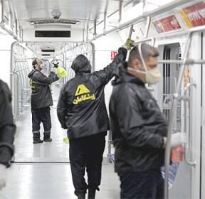 코로나19 비상 걸린 이란, 지하철 방역