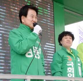 익산역 앞에서 출정식 연 민생당 전북도당 후보들