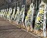 정부과천청사 앞에 놓여 있는 추미애 장관 비판 근조화환들