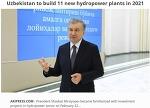 우즈벡, 15개 수력발전소 건설 프로젝트에 14.2억불 투자 Uzbekistan to build 11 new hydropower plants in 2021