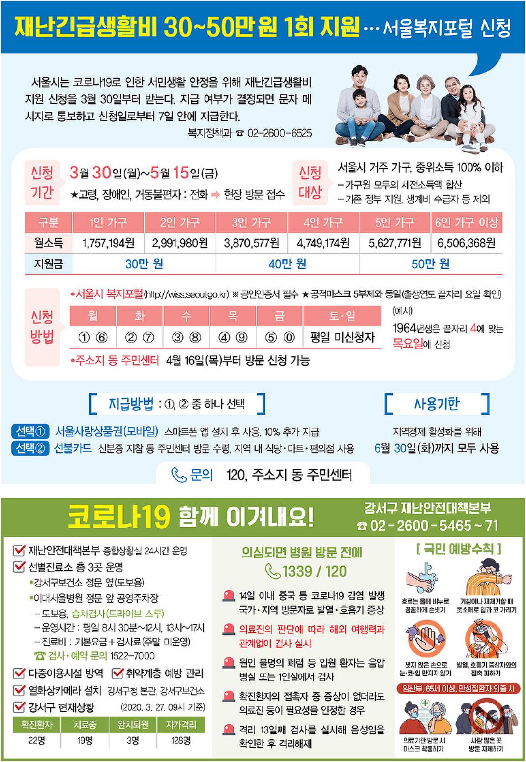 [재난긴급생활비] 서울시 재난긴급생활비 신청하세요!