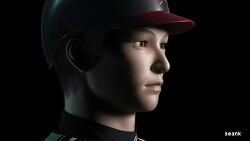 Baseball player face.