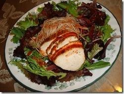 닭가슴살 샐러드와  엔젤 헤어 비빔밥