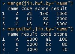 [R프로그램] Rstudio에서 데이터 병합 merge 하는 방법