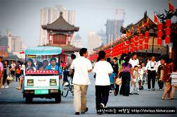 중국 서안 (Xian) 의 성벽 그리고 노을~