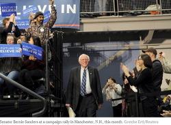 뉴 햄프셔 주 여론조사에서, 버니 샌더스가 힐러리 클린턴을 60% 대 33%로 크게 앞섰다