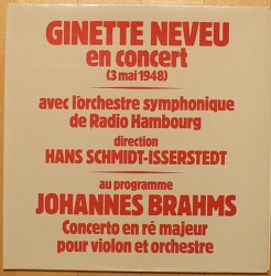 [LP음반] Ginette Neveu (지넷 느뵈) - 브람스 바이올린 협주곡 (Brahms Violin Concerto, 한스 슈미트 이세르슈테트 Hans Schmidt-Isserstedt + 라디오 함부르크 교향악단 Radio Hamburg Symphonic Orchestra, 1948년)