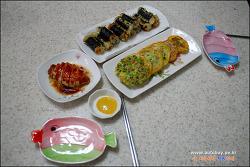 파프리카 부침, 김말이 튀김, 닭가슴살 버터구이
