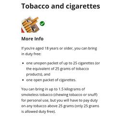 호주 담배 소주 입국시 허용치