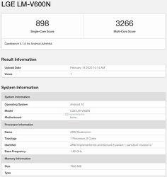 LG - 스냅드래곤 865, 8GB RAM을 탑재한 LG V60 ThinQ, GeekBench에 포착