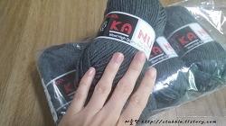 두번째로 도전한 뜨개질 목도리인 자라무늬 목도리