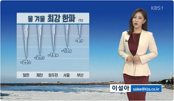 2018.01.26 KBS날씨뉴스, 올겨울 최저기온 경신...서울 -17.8도∙철원-25도 이설아