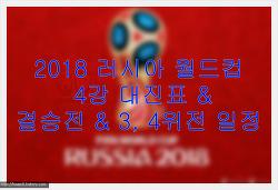 2018 러시아 월드컵 4강 대진표 & 결승전 & 3, 4위전 일정