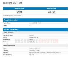 삼성 - 스냅드래곤 710을 탑재한 새로운 태블릿 SM-T545, GeekBench에 포착