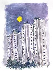 추석날 보름달 구경 - 일상드로잉