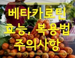 항산화, 면역에 좋고 부작용없는 비타민A전구물질, 베타카로틴 효능효과, 복용법, 주의사항