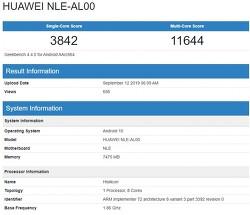 화웨이 - 기린 990을 탑재한 NLE-AL00, GeekBench에 포착